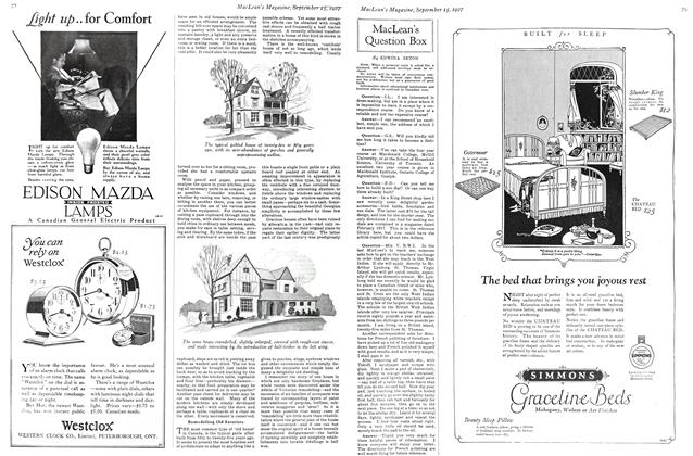 Article Preview: MacLean's Question Box, September 15TH 1927 1927 | Maclean's