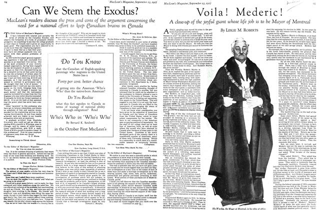 Article Preview: Can We Stem the Exodus?, September 15TH 1927 1927 | Maclean's