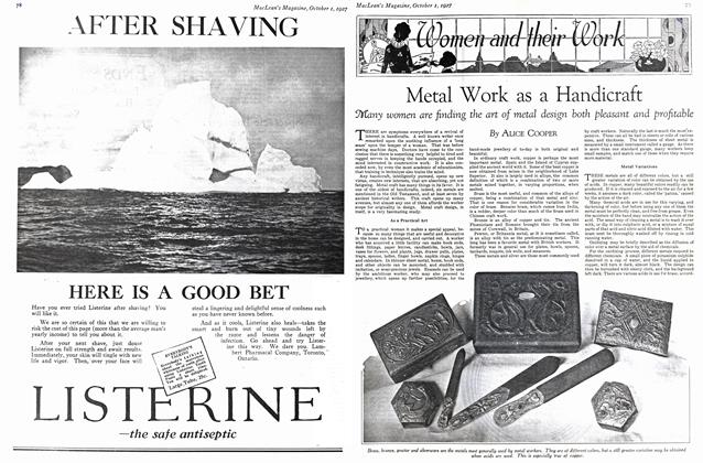 Article Preview: Metal Work as a Handicraft, October 1st. 1927 1927 | Maclean's
