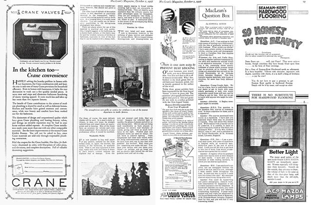 Article Preview: MacLean's Question Box, October 1st. 1927 1927 | Maclean's