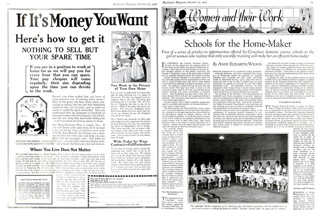 Article Preview: Schools for the Home-Maker, October 15th 1927 1927 | Maclean's