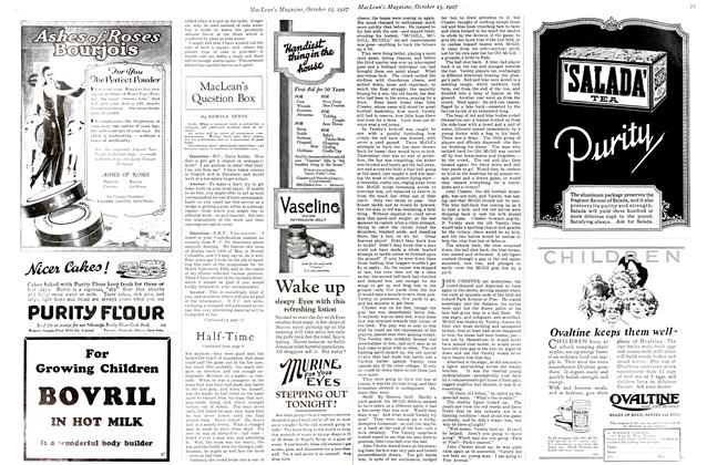 Article Preview: MacLean's Question Box, October 15th 1927 1927 | Maclean's