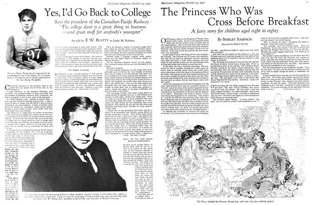 Article Preview: The Princess Who Was Cross Before Breakfast, October 15th 1927 1927 | Maclean's