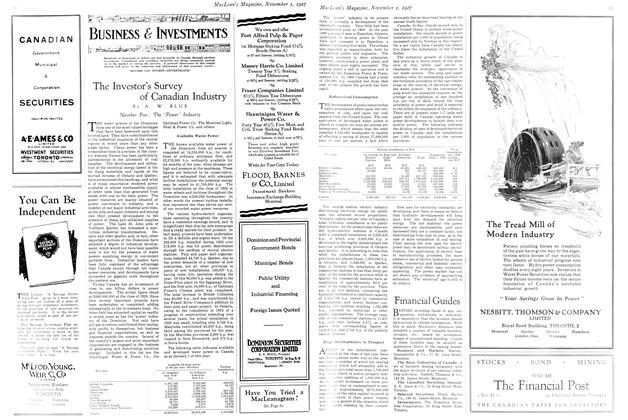 Article Preview: The Investor's Survey of Canadian Industry, November 1st 1927 1927 | Maclean's