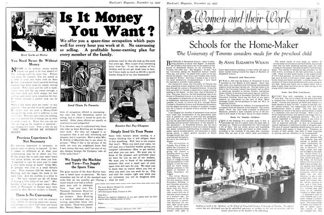 Article Preview: Schools for the Home-Maker, November 15TH 1927 1927 | Maclean's
