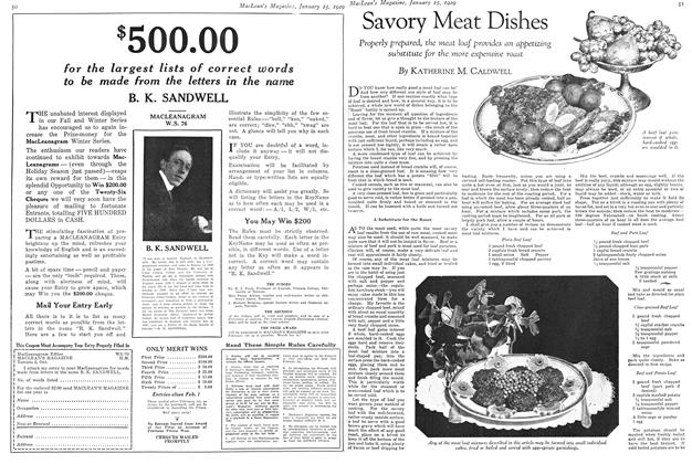 Article Preview: Savory Meat Dishes, January 1929 | Maclean's