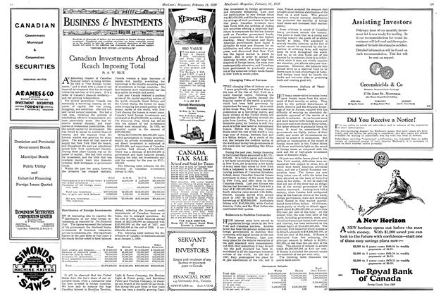 Article Preview: Canadian Investments Abroad Reach Imposing Total, February 1929 | Maclean's