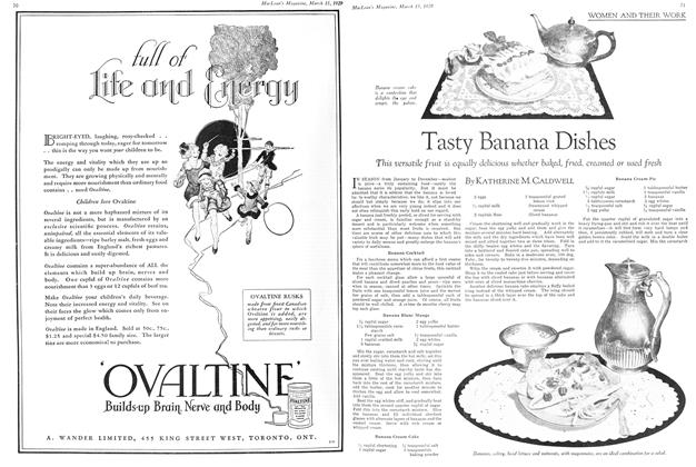 Article Preview: Tasty Banana Dishes, March 1929 | Maclean's