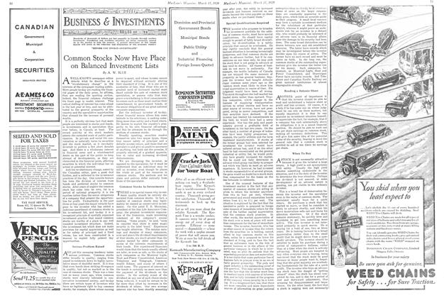 Article Preview: Common Stocks Now Have Place on Balanced Investment Lists, March 1929   Maclean's