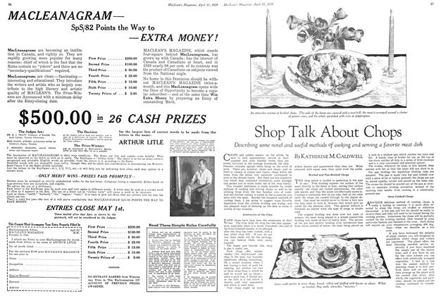 Article Preview: Shop Talk About Chops, April 15 1929 | Maclean's