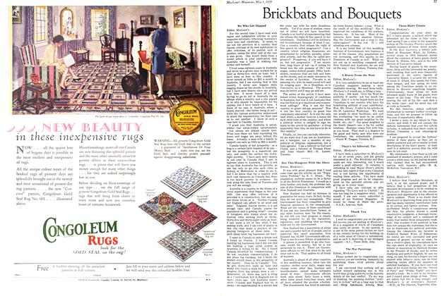 Article Preview: Brickbats and Bouquets, May 1929 | Maclean's