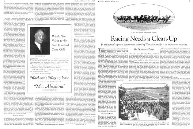 Article Preview: Racing Needs a Clean-Up, May 1929 | Maclean's
