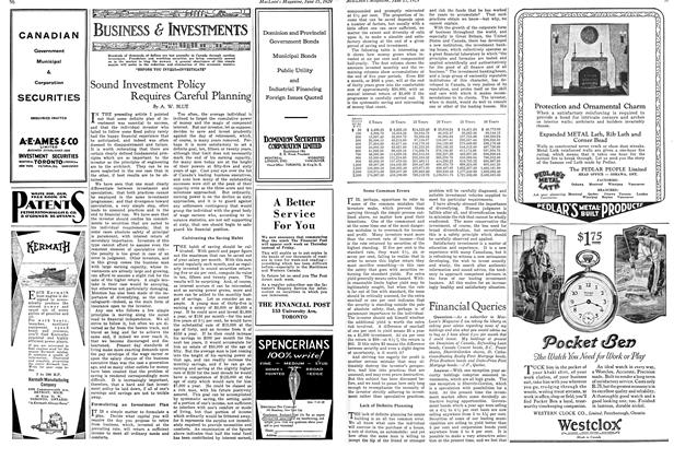 Article Preview: Sound Investment Policy Requires Careful Planning, June 15TH 1929 | Maclean's