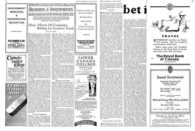 Article Preview: Many Alberta Oil Companies Bidding for Investors' Funds, July 1929 | Maclean's