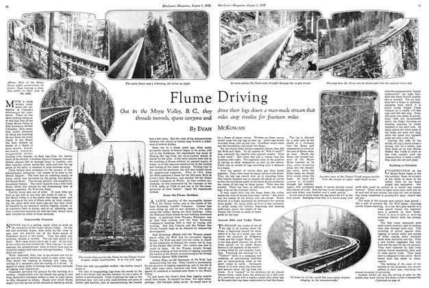Article Preview: Flume Driving, August 1929 | Maclean's