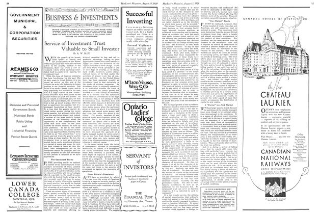 Article Preview: Service of Investment Trust Valuable to Small Investor, August 1929 | Maclean's