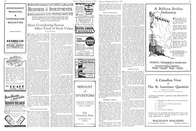 Article Preview: Many Contributing Factors Affect Trend of Stock Values, September 1929 | Maclean's
