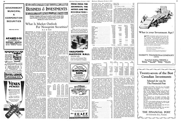 Article Preview: What Is Market Outlook For Newsprint Securities?, October 1929 | Maclean's