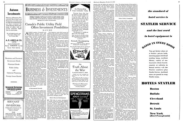Article Preview: Canada's Public Utility Field Offers Investment Possibilities, October 1929 | Maclean's