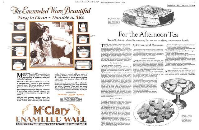 Article Preview: For the Afternoon Tea, November 1929 | Maclean's