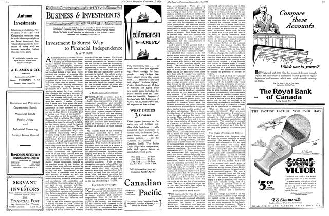 Article Preview: Investment Is Surest Way to Financial Independence, November 1929 | Maclean's