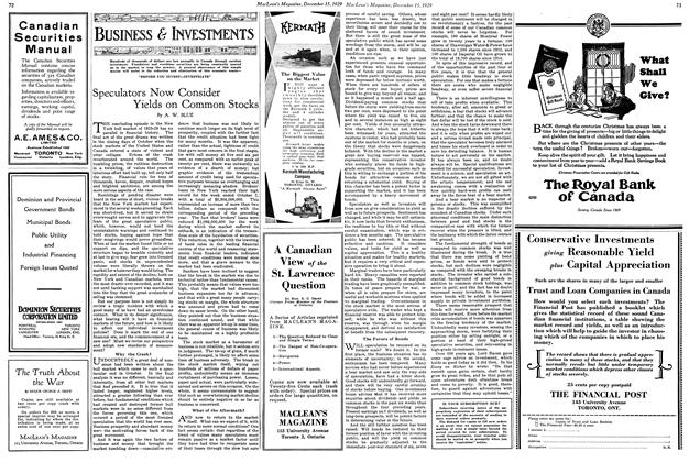 Article Preview: Speculators Now Consider Yields on Common Stocks, December 1929 | Maclean's