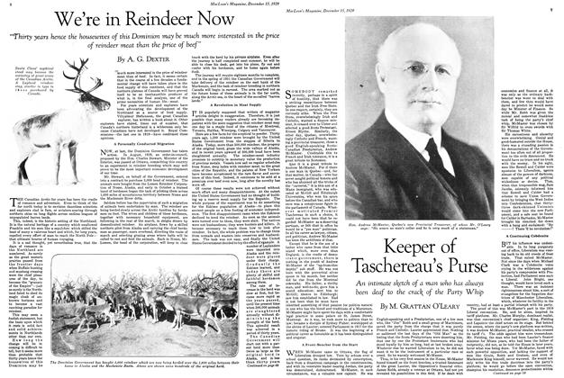 Article Preview: Keeper of Taschereau's Purse, December 1929 | Maclean's