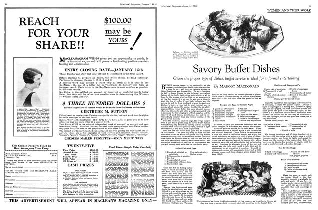 Article Preview: Savory Buffet Dishes, January 1930 | Maclean's