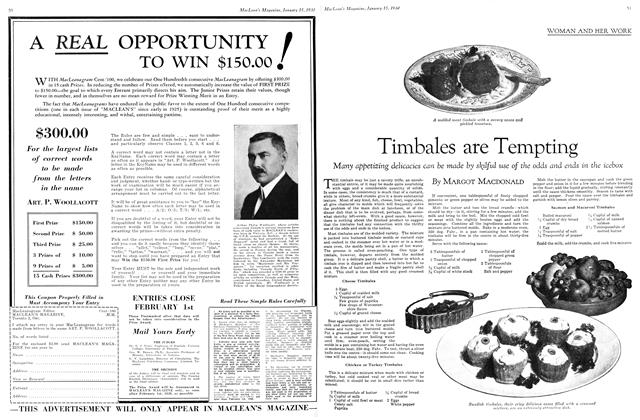 Article Preview: Timbales are Tempting, January 1930 | Maclean's