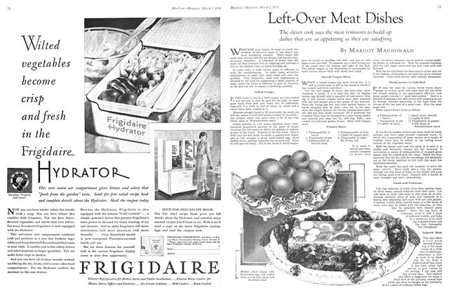 Article Preview: Left-Over Meat Dishes, March 1930 | Maclean's