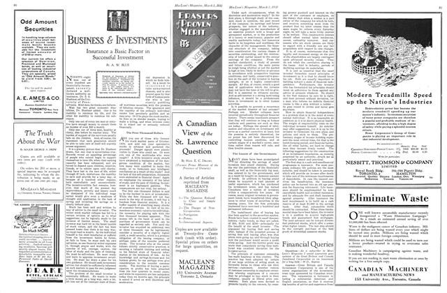 Article Preview: Insurance a Basic Factor in Successful Investment, March 1930 | Maclean's