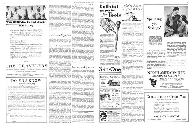 Article Preview: Insurance Queries, May 1930 | Maclean's