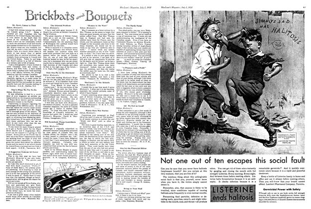 Article Preview: Brickbats and Bouquets, July 1930 | Maclean's