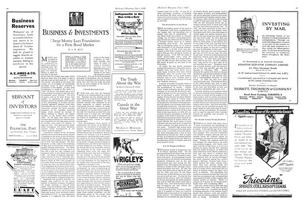 Article Preview: Cheap Money Lays Foundations for a Firm Bond Market, July 1930 | Maclean's