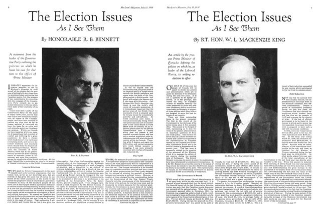 Article Preview: The Election Issues As I See them, July 1930 | Maclean's