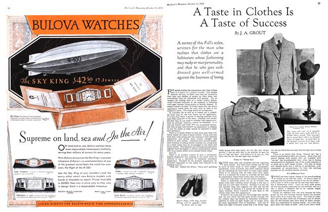 Article Preview: A Taste in Clothes Is A Taste of Success, October 1930 | Maclean's