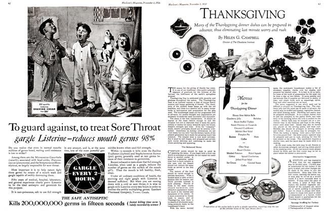 Article Preview: THANKSGIVING, November 1st 1930 1930 | Maclean's