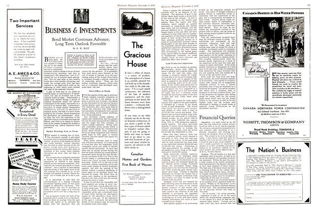 Article Preview: Bond Market Continues Advance; Long Term Outlook Favorable, November 1st 1930 1930   Maclean's