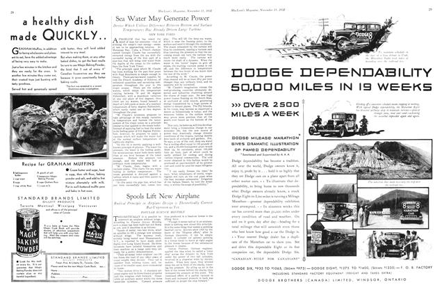 Article Preview: Spools Lift New Airplane, November 15th 1930 1930 | Maclean's