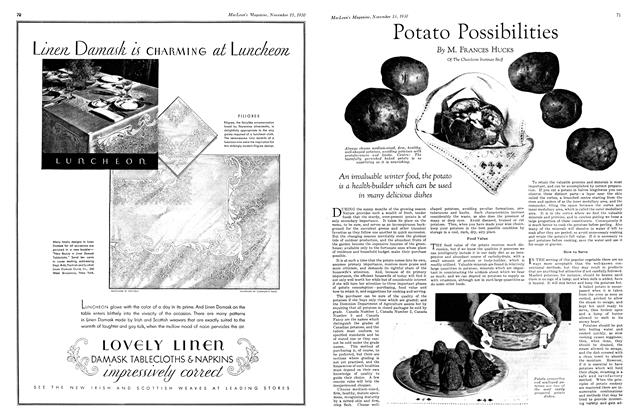 Article Preview: Potato Possibilities, November 15th 1930 1930 | Maclean's
