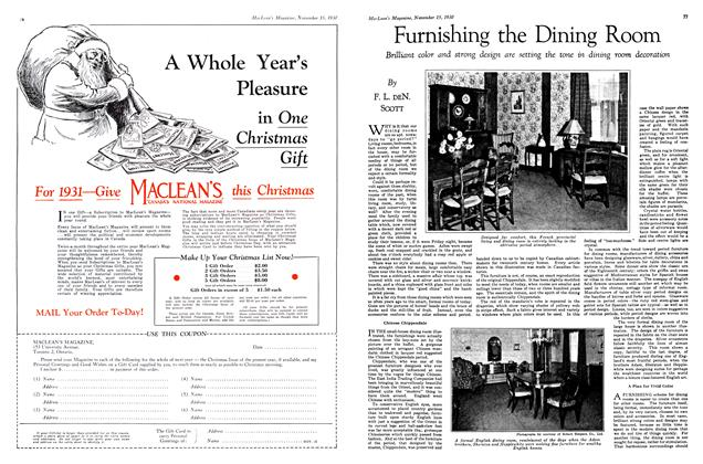 Article Preview: Furnishing the Dining Room, November 15th 1930 1930   Maclean's