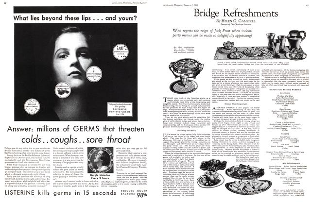Article Preview: Bridge Refreshments, January 1st 1931 1931   Maclean's