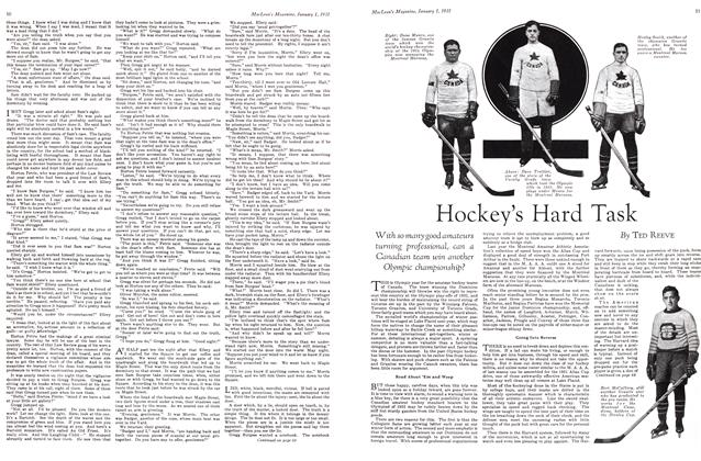 Article Preview: Hockey's Hard Task, January 1st 1931 1931   Maclean's