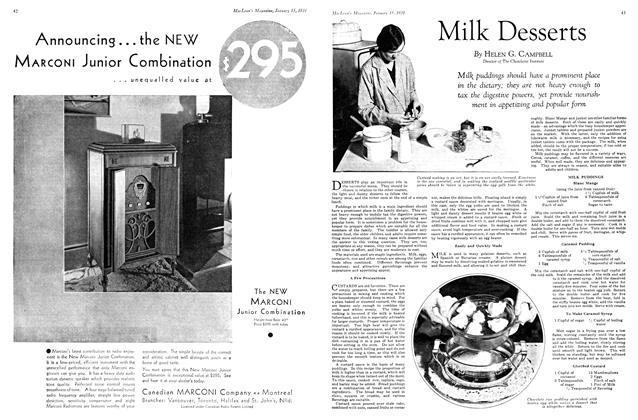 Article Preview: Milk Desserts, January 1931   Maclean's