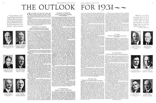 Article Preview: THE OUTLOOK FOR 1931~~, January 1931 | Maclean's