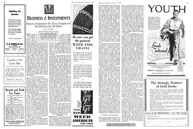 Article Preview: Business Adjustment Era Faces Complicated World Economic Problems, February 1ST 1931 1931 | Maclean's