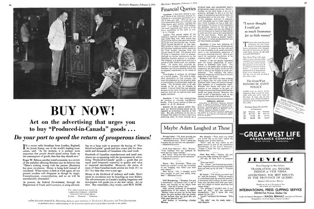 Article Preview: Financial Queries, February 1ST 1931 1931 | Maclean's