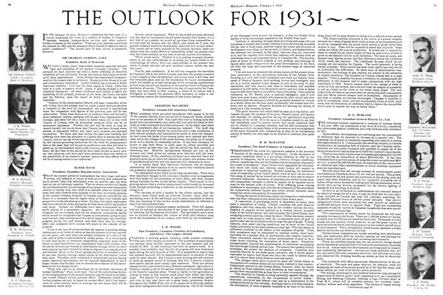 Article Preview: THE OUTLOOK FOR 1931--, February 1ST 1931 1931 | Maclean's