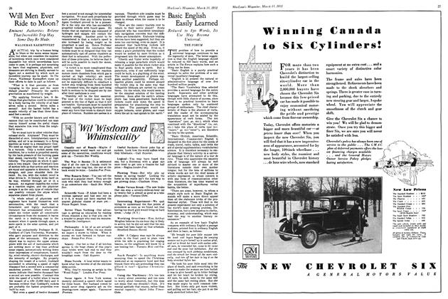 Article Preview: Will Men Ever Ride to Moon?, March 1931   Maclean's