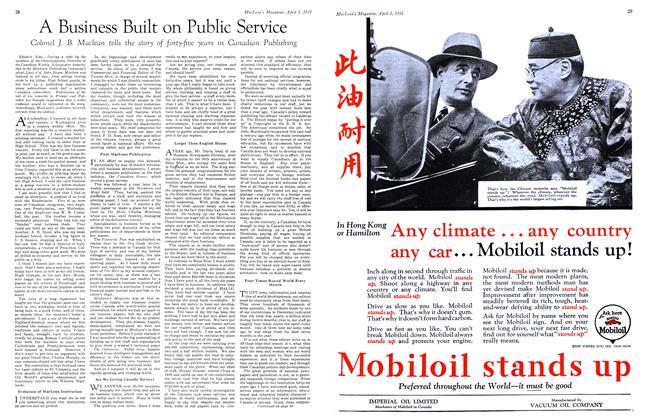 Article Preview: A Business Built on Public Service, April 1931 | Maclean's